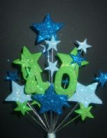 Number age 40th birthday cake topper decoration in shades of blue and lime - free postage